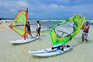 Bonaire windsurfing holiday - kids and beginner learn to windsurf courses.