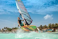 Bonaire Windsurf Holiday - Lac Bay. RRD Starboard centre freestyle action.