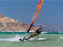 Greek Islands - Naxos. Windsurf Holiday. St Georges beach sailing area.