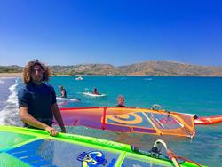 Crete windsurfing holiday. Palekastro Bay windsurf lessons & instruction courses.