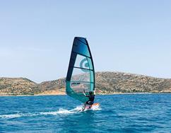 Crete windsurfing holiday. Palekastro Bay slalom sailing area.