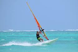 Kenya - Diani Beach. Windsurf, kiteusrf, surf and SUP. Windsurf action.