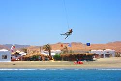 Marsa Alam - Red Sea. Kitesurfer at Marsa Alam Windsurf & Kitesurf Centre.