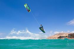 Sotavento, Fuerteventura - Canary Islands. Kitesurf action.