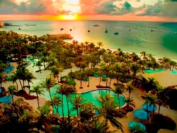 The Hilton Aruba Caribbean Resort Is A Beach Front Hotel Overlooking Stunning Coastline Ideally Located Right On Palm