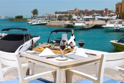 Captains Inn Hotel, El Gouna - Red Sea. Outside dining.